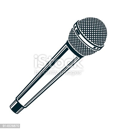 1056306726istockphoto 3d microphone vector illustration isolated on white. Social media communication idea, journalism concept. 914526870