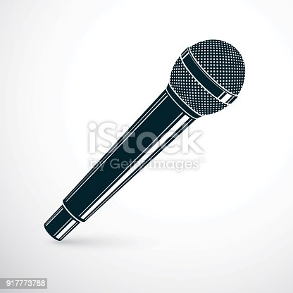 1056306726istockphoto 3d microphone vector illustration isolated on white. Social media communication idea, journalism concept. 917773788