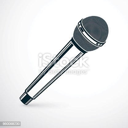 1056306726istockphoto 3d microphone vector illustration isolated on white. Social media communication idea, journalism concept. 950068230