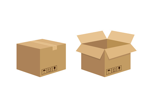 3d mockup with carton box isolated on white background. 3d illustration. Carton box single in cartoon style. Vector illustration