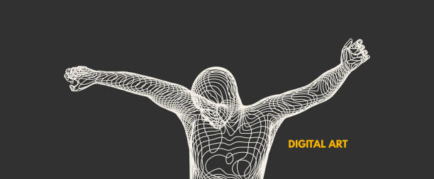 3d model of man. Vector illustration. Wire connection to virtual reality. vector art illustration