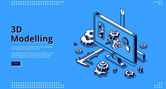 3d modelling isometric landing page, cad model