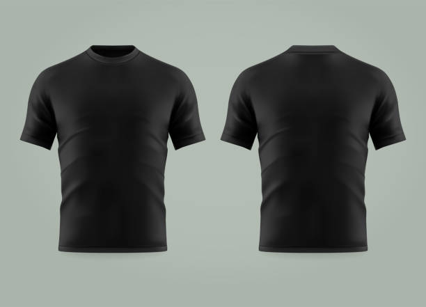 3d or realistic black t-shirt or shirt wear Set of isolated black t-shirt or 3d cloth with short sleeve and u neck. Realistic empty cotton t shirt. Man and woman, male and female blank or empty uniform. Men and women wearing mockup black shirt stock illustrations