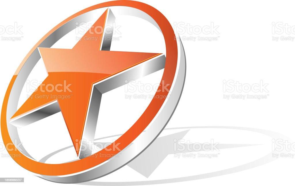 3d orange star - logo royalty-free 3d orange star logo stock vector art & more images of abstract