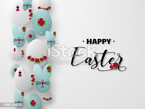 istock 3d paper cur Easter holiday design. 1089705676