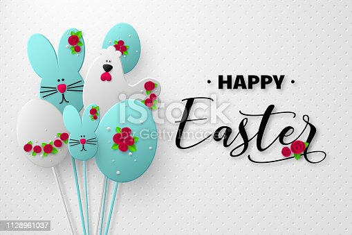 istock 3d paper cur Easter holiday design. 1128961037