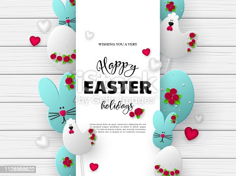 istock 3d paper cur Easter holiday design. 1128988622