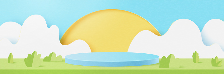 3d Paper cut abstract minimal geometric shape template background.Blue cylinder podium on Summer season natural landscape scene.Vector illustration.