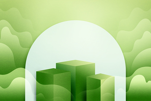 3d Paper cut abstract minimal geometric shape template background.Green podium on green nature landscape scene with mountains and clouds.Vector illustration.