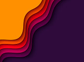 3d paper cut style background. Shapes with shadow in orange, red, purple and violet colors. Layered effect, carving art. Design for business presentation, posters, flyers, prints. Vector