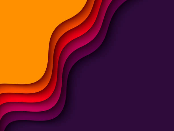 3d paper cut style background. 3d paper cut style background. Shapes with shadow in orange, red, purple and violet colors. Layered effect, carving art. Design for business presentation, posters, flyers, prints. Vector autumn patterns stock illustrations