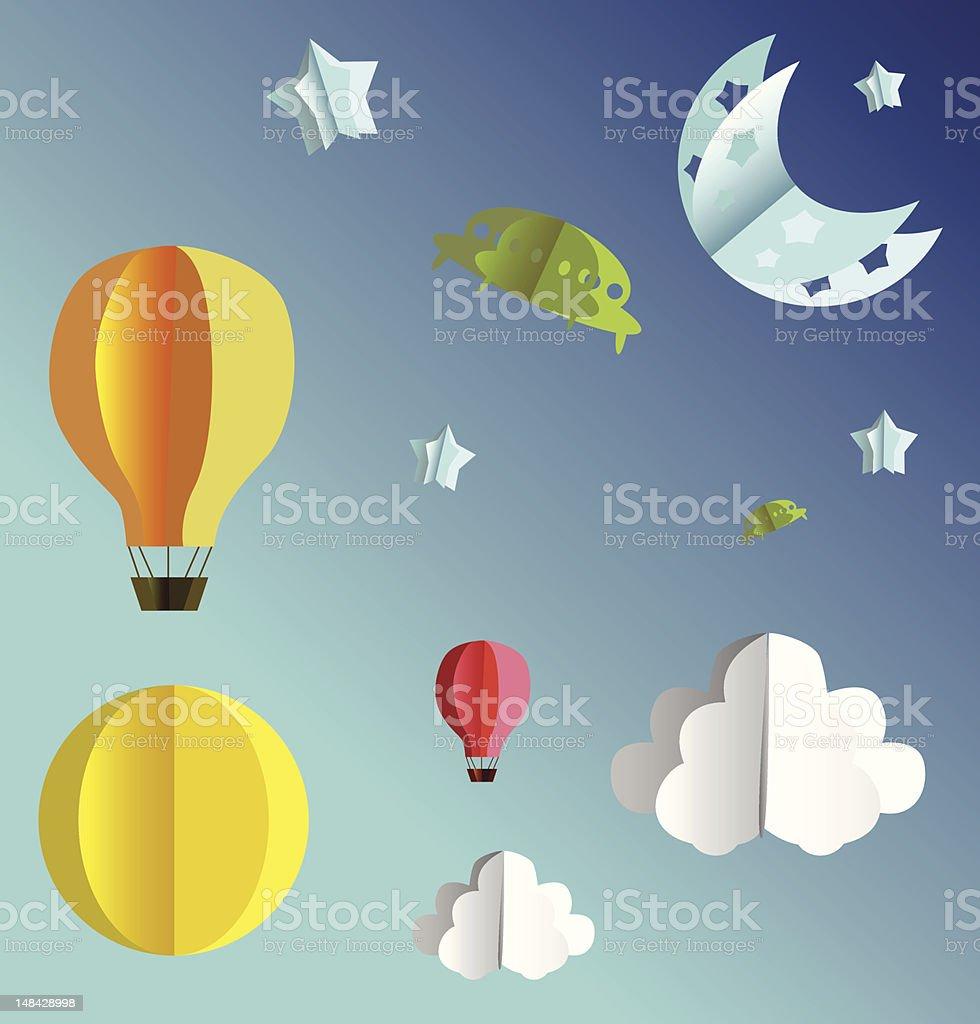 3d paper sky flying objects set vector art illustration