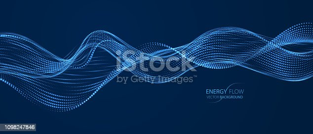 3d particles mesh array, sound wave flowing over dark background. Shining points vector effect illustration. Blended mesh, 3d futuristic technology style.