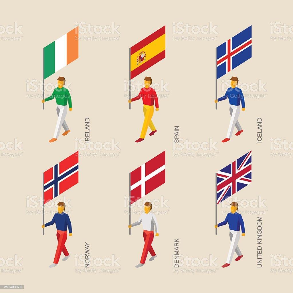 3d people with flags denmark uk spain norway ireland icelan stock