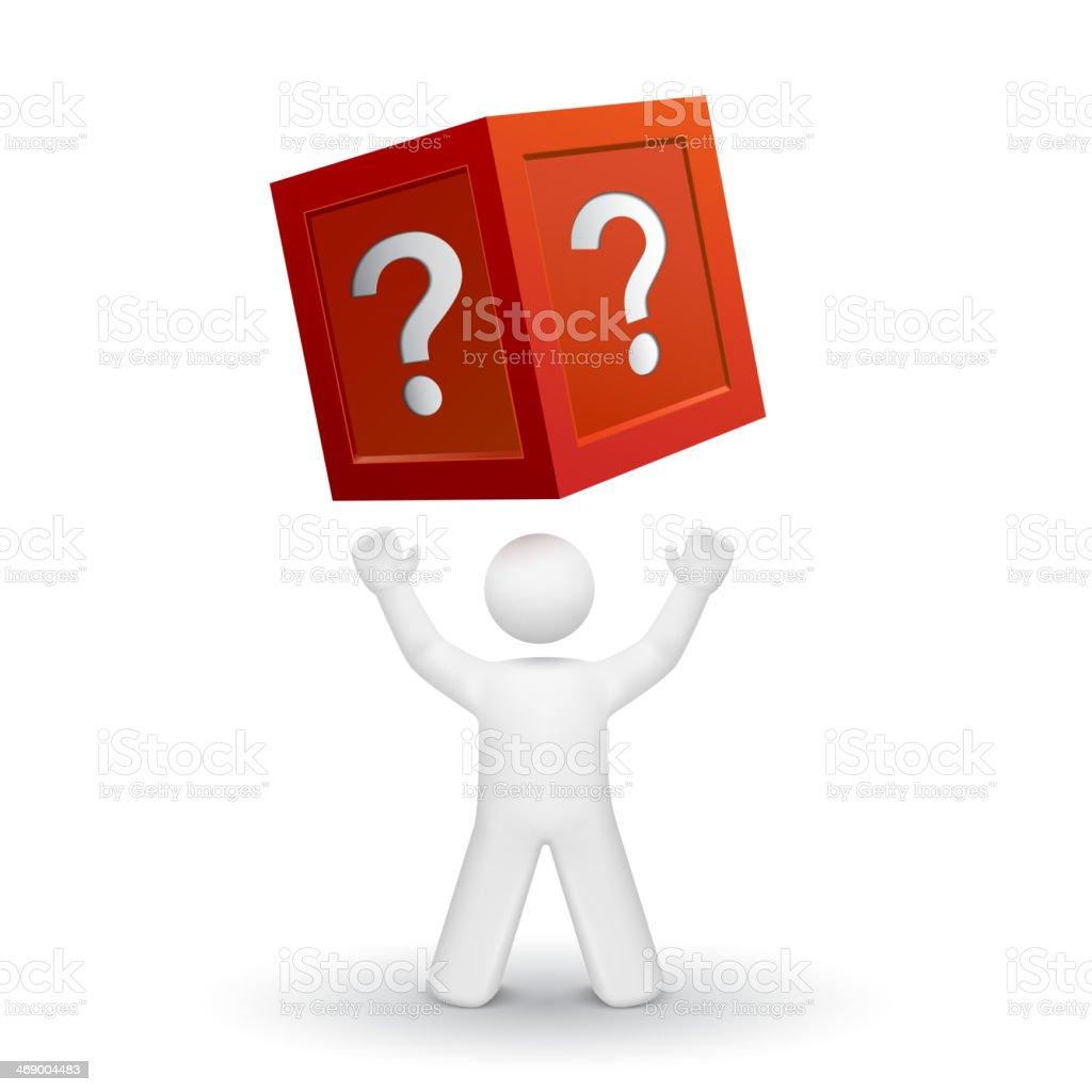 3 d pessoa olhando para cima em uma caixa com ponto de interrogação - ilustração de arte em vetor