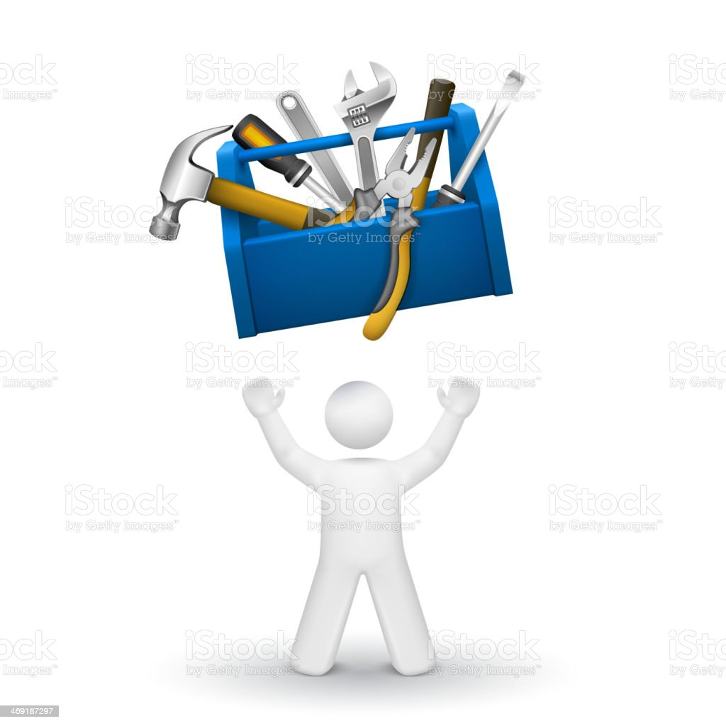 3d person looking up at a toolbox with tools royalty-free stock vector art
