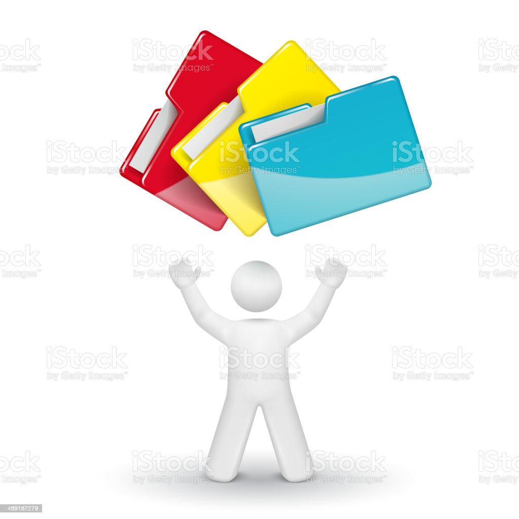 3d person looking up at folders royalty-free stock vector art