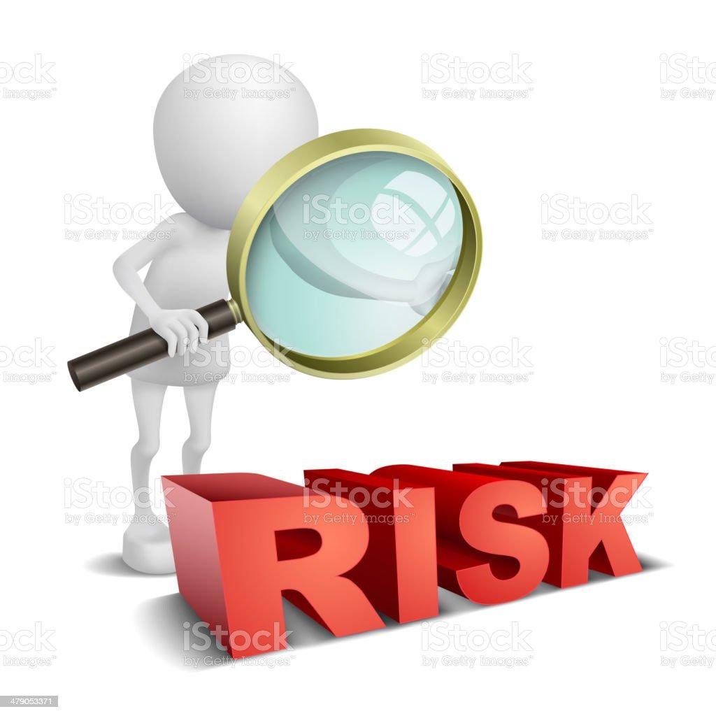 3 d pessoa observando uma palavra risco com uma lupa - ilustração de arte em vetor