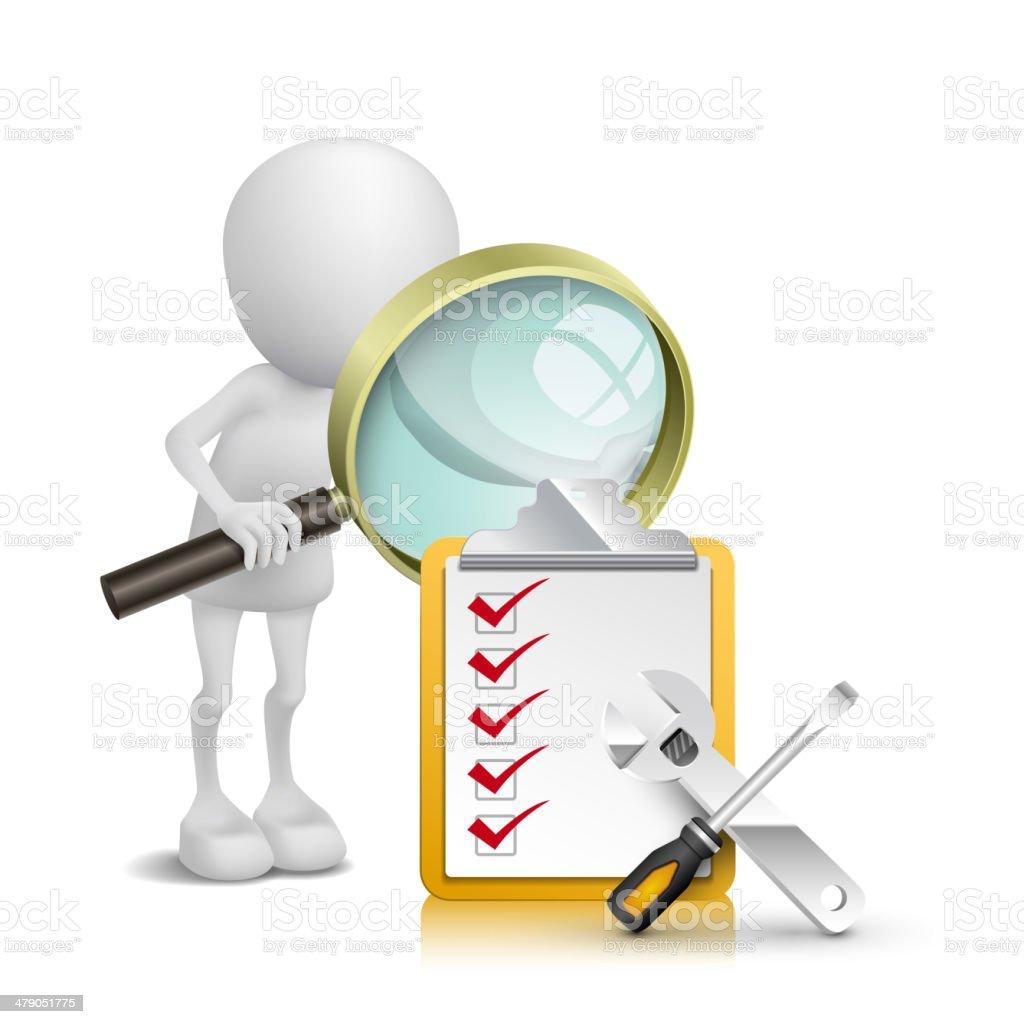 3 d pessoa observando lista de verificação e ferramentas com uma lupa - ilustração de arte em vetor