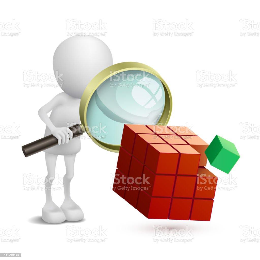 3 d pessoa observando as caixas - ilustração de arte em vetor