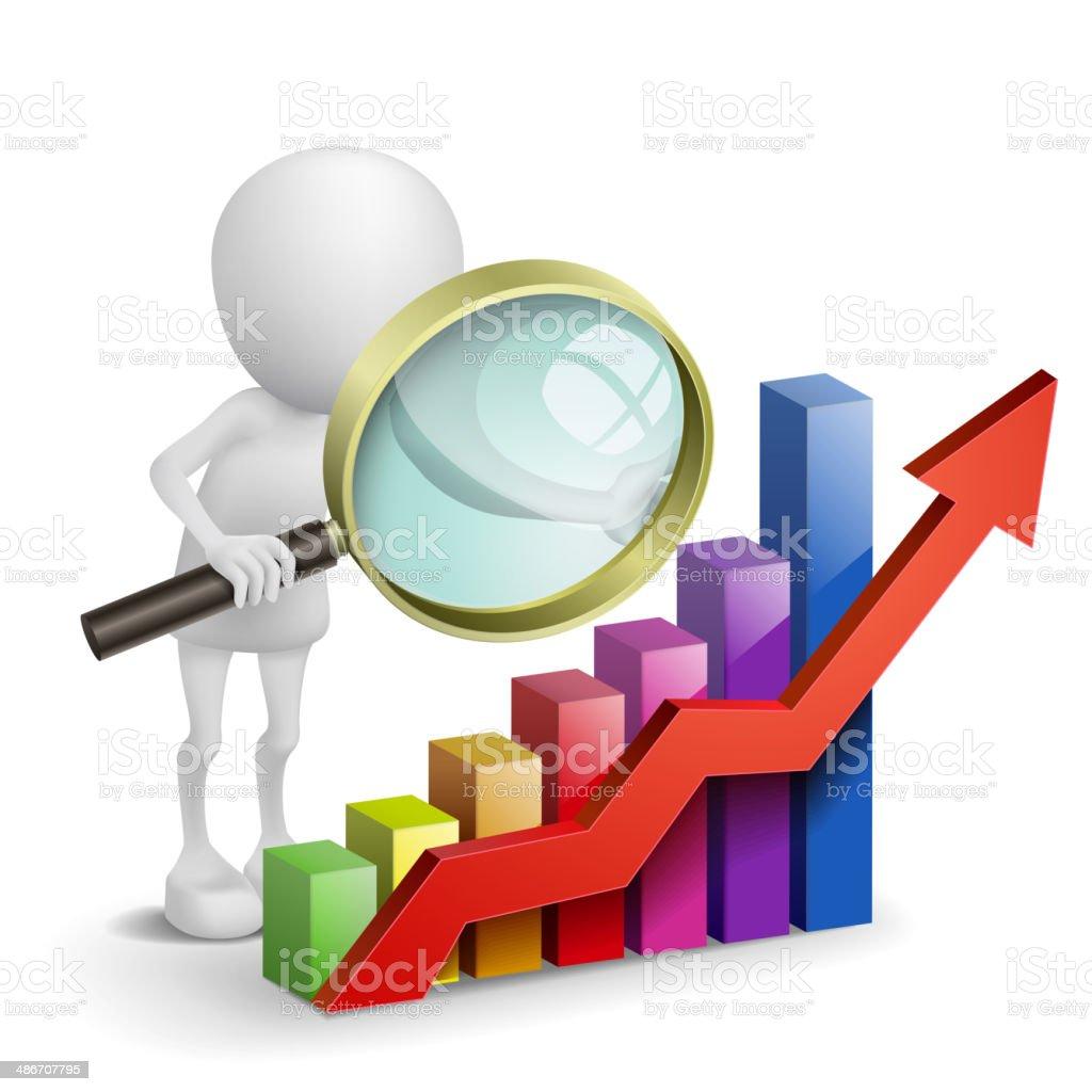 3 d pessoa com um gráfico financeiro - ilustração de arte em vetor