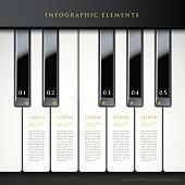 3d piano keys infographic elements