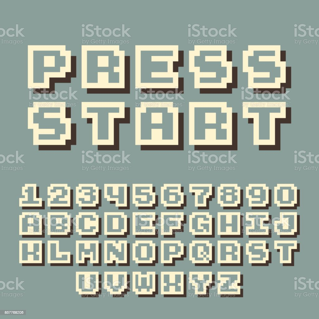 3d Pixel Video Game 8 Bit Font Poster Typeface With Shadow