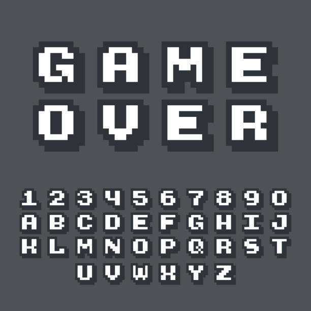 3d pixel video game 8 bit font. Poster typeface with shadow 3d effect. vector art illustration