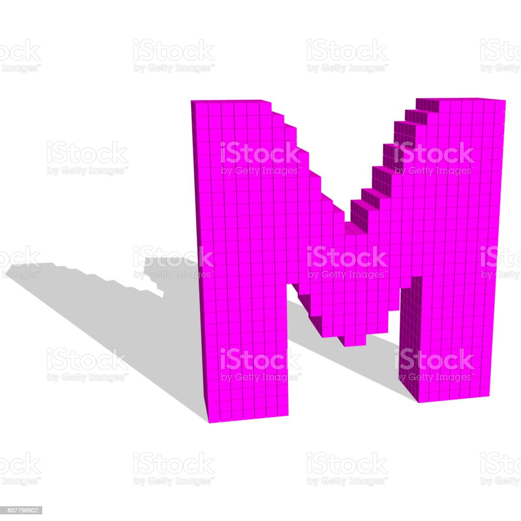 3d Pixelated Capital Letter M Vector Illustration Stock Vector Art ...