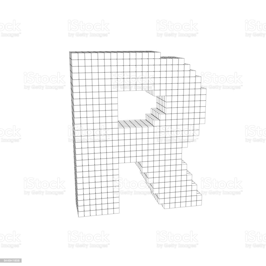 3d Pixelated Capital Letter R Vector Outline Illustration Royalty Free