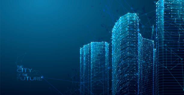 3d polygonal City, future, futuristic concept vector art illustration