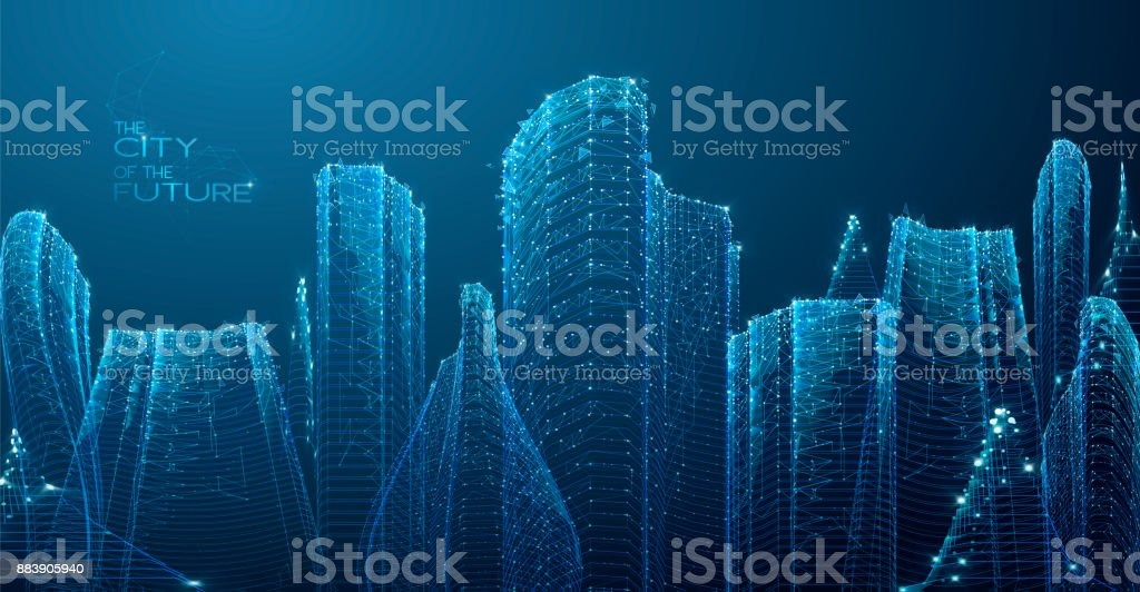 3d polygonal City, future, futuristic concept vector art illustration