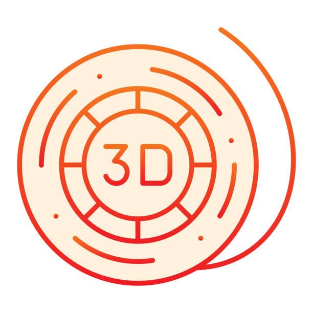 3d printer reel flat icon. Coil for 3d printer orange icons in trendy flat style. 3d printer filament gradient style design, designed for web and app. Eps 10. 3d printer reel flat icon. Coil for 3d printer orange icons in trendy flat style. 3d printer filament gradient style design, designed for web and app. Eps 10 energy efficient lightbulb stock illustrations