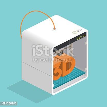 isometric 3d printer printing text block