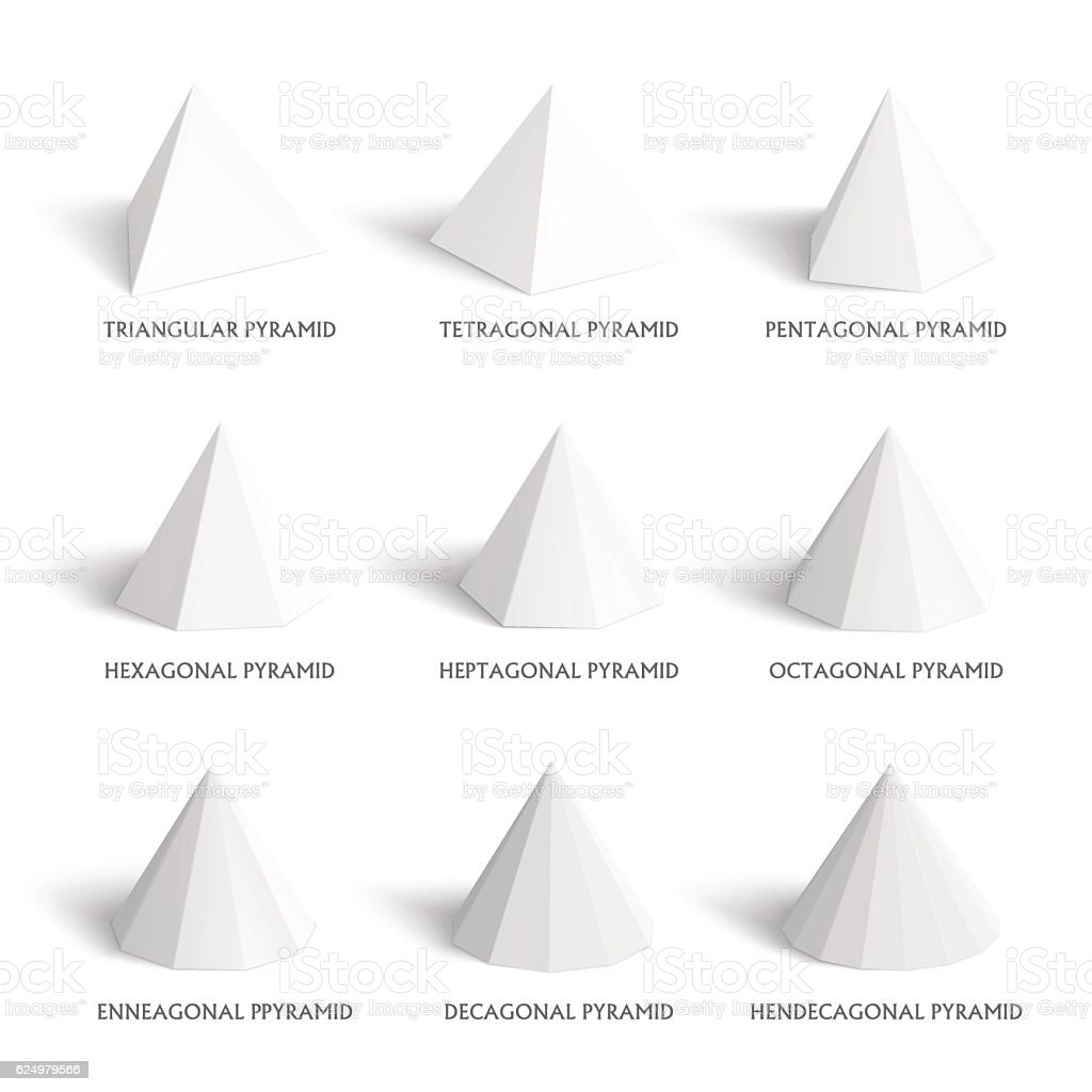 3d Pyramids Template Realistic With Shadow Stock Vector Art More