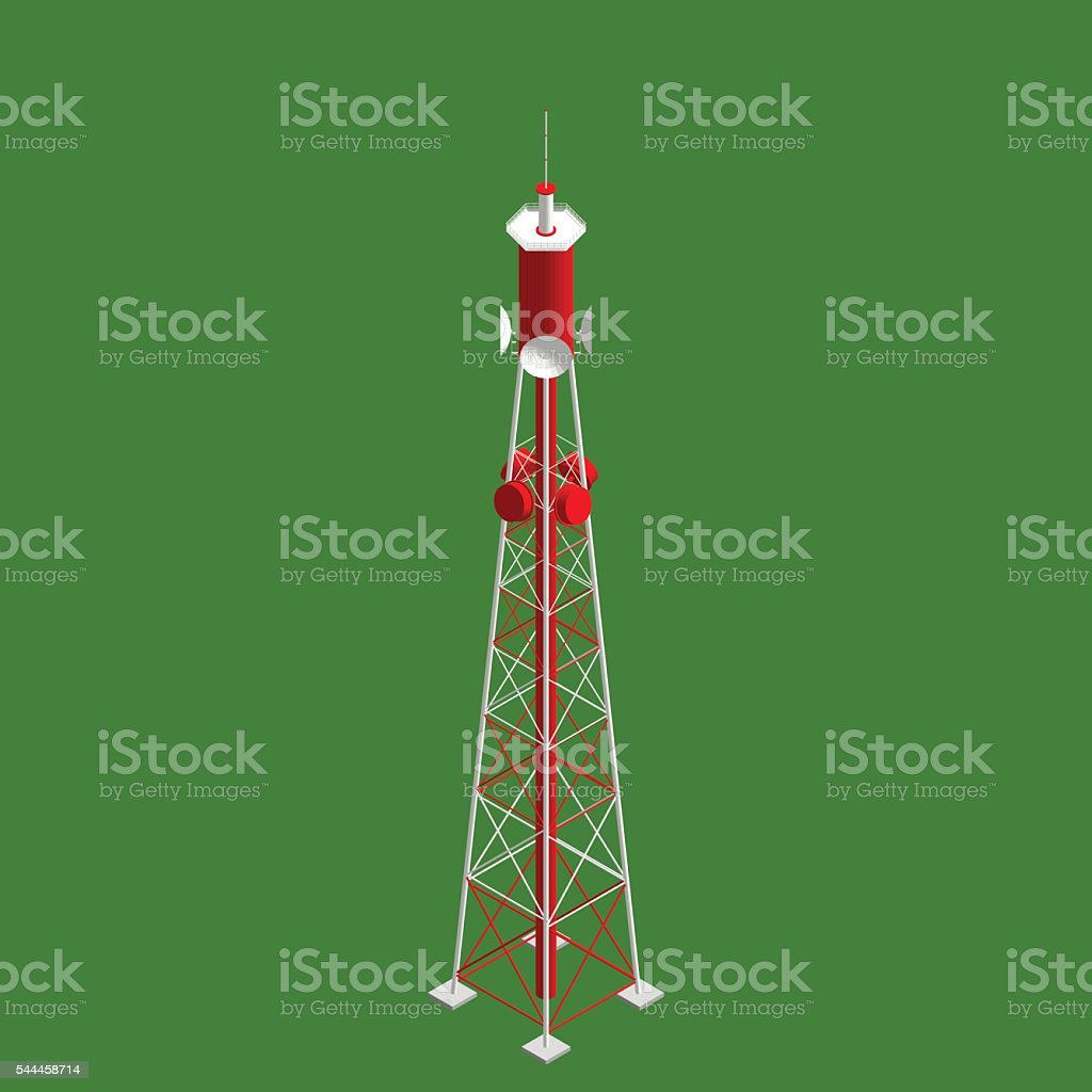 3d Radio Tower. 3d isometric style. Vector illustration.
