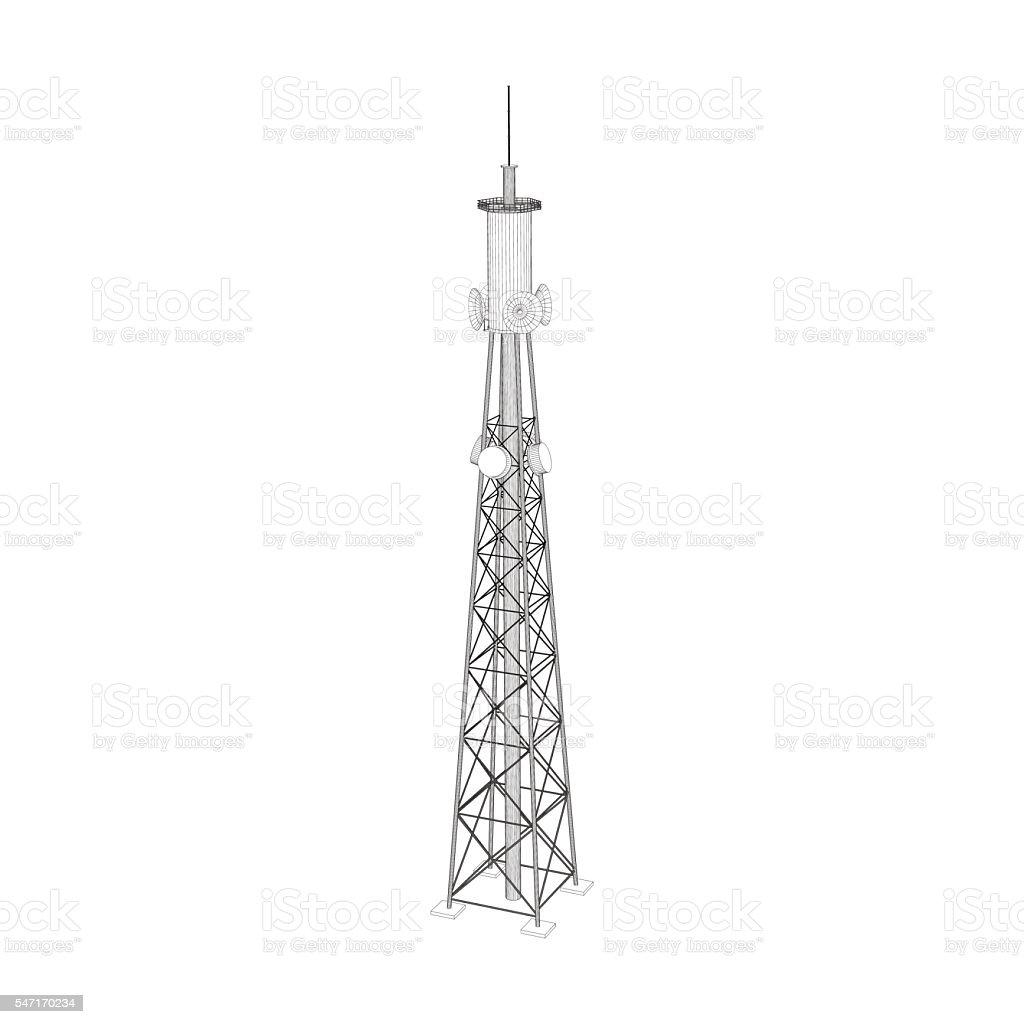 3d Radio Tower. Vector outline illustration. vector art illustration