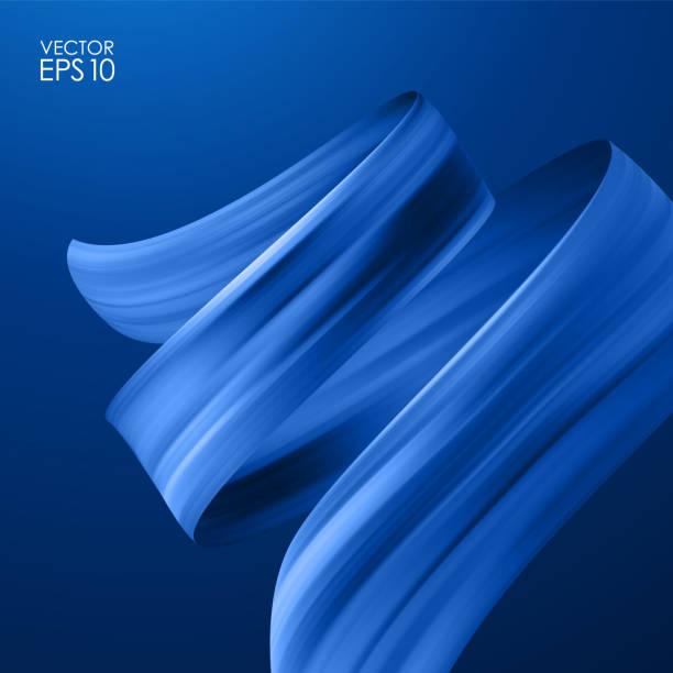realistische 3d-hintergrund mit pinsel-takt-öl oder acryl auf dunkelblauem hintergrund. welle flüssigen form. trendiges design - splash grafiken stock-grafiken, -clipart, -cartoons und -symbole