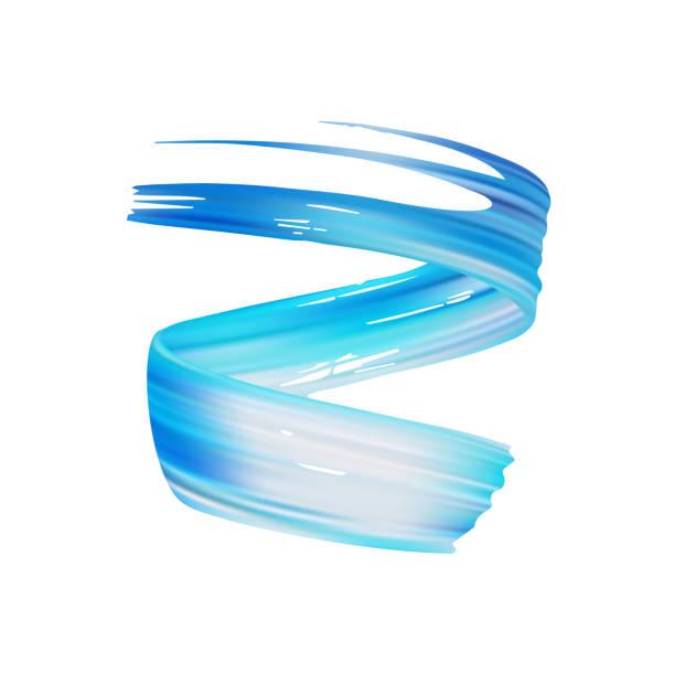 3d realistisch blauer pinsel-takt-öl oder acryl malen isolierten auf weißen hintergrund. welle flüssigen form. trendiges design - splash grafiken stock-grafiken, -clipart, -cartoons und -symbole