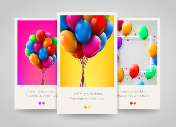 3d realistic colorful bunch of birthday balloons flying for party and celebrations. poster, flyer or ticket design. - anniversary designs stock illustrations