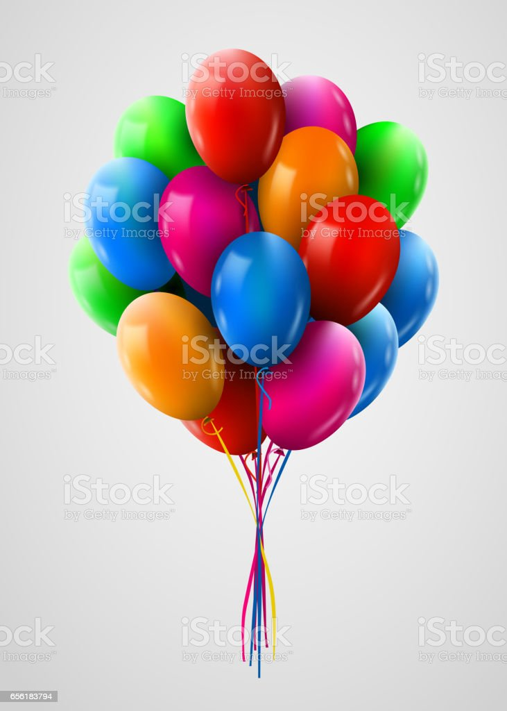 3d Realistic Colorful Bunch of Flying Birthday Balloons. Party and Celebration concept.