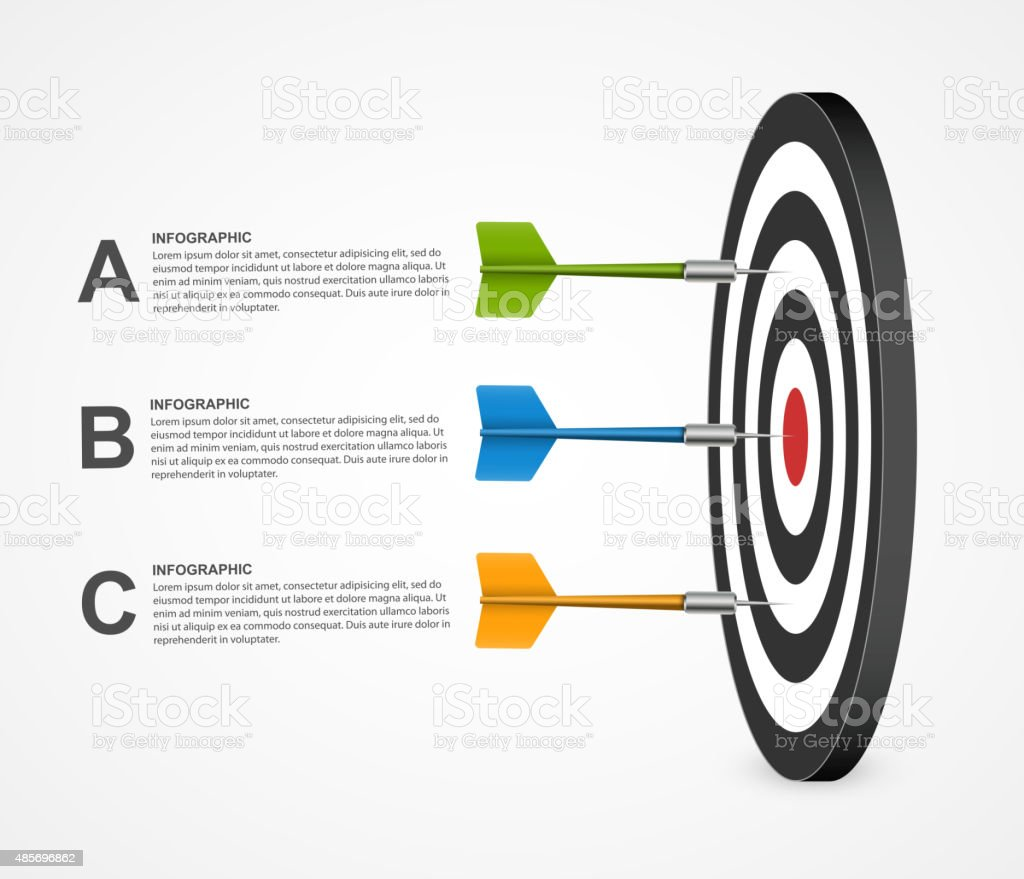 3d realistic concept infographic template target with darts. Vector design. vector art illustration