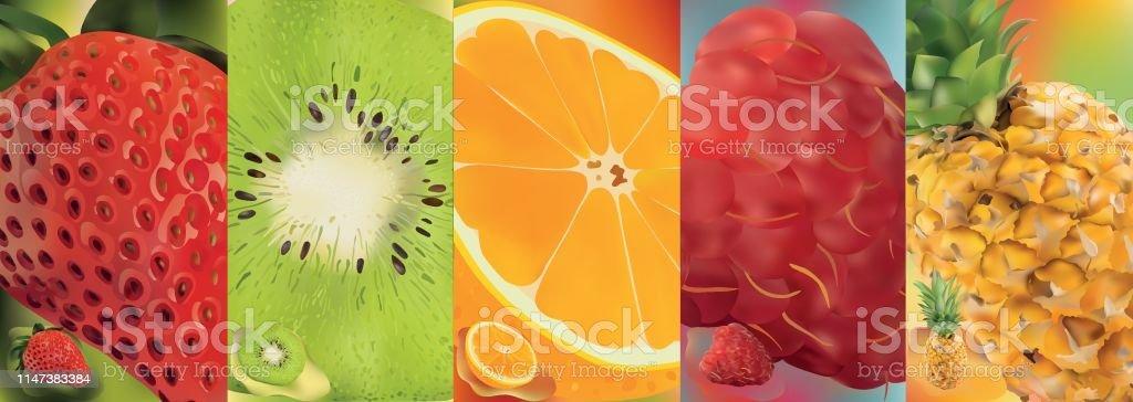 3d realistic fruit, pineapple, raspberry, kiwi, strawberry, orange....