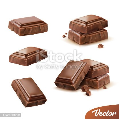 3d realistic isolated vector icon set, pieces of milk or dark chocolate with crumbs, movable