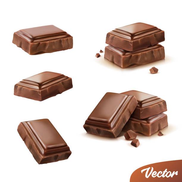 3d realistisch isoliertes vektorsymbol, milchstücke oder dunkle schokolade mit krümeln, beweglich - schokolade stock-grafiken, -clipart, -cartoons und -symbole