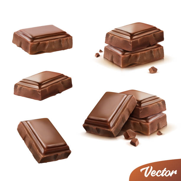 illustrazioni stock, clip art, cartoni animati e icone di tendenza di 3d realistic isolated vector icon set, pieces of milk or dark chocolate with crumbs, movable - cioccolata