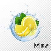 3d realistic isolated vector slices lemon and fresh mint leaves in a splash of water or tea with drops