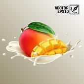 3d realistic isolated vector, splash milk or yogurt whole and slice of mango fruit, editable handmade mesh