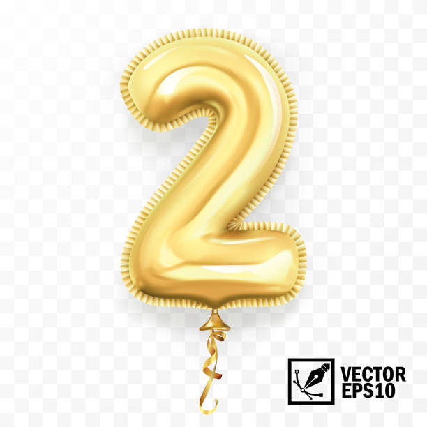 3d realistic isolated vector with number two, 2, gold helium balloon for your design decoration, party, birthday, ads 3d realistic isolated vector with number two, 2, gold helium balloon for your design decoration, party, birthday, ads gezond stock illustrations
