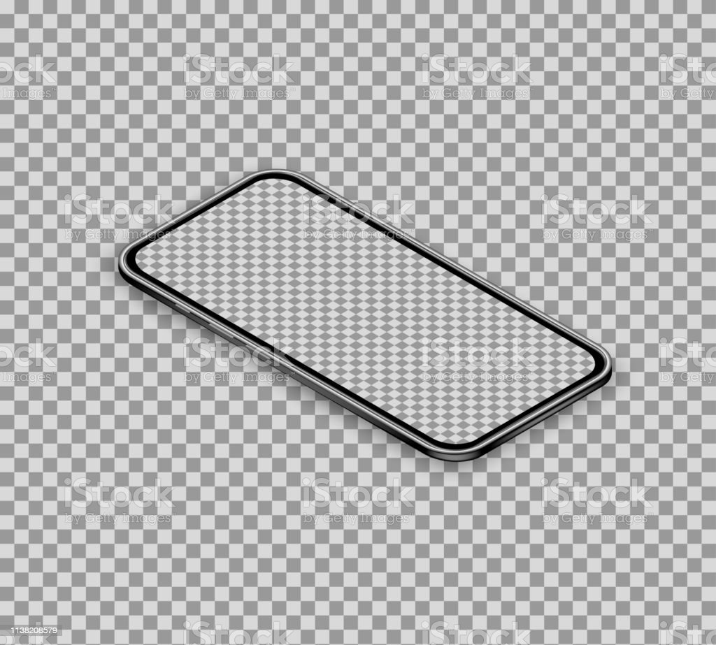 3d Realistic Isometric Smartphone Isolated On Transparent